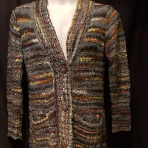 Chico's Long Striped Cardigan Sweater S 1